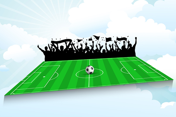 Football pitch background with cheering crowd against a blue sky