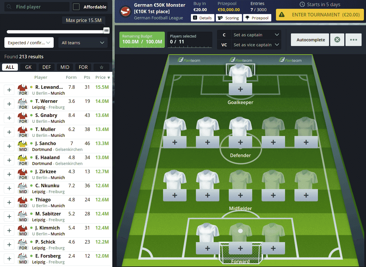 Tournament Lobby for Daily-Fantasy-Fussball-spielen-Draft-min