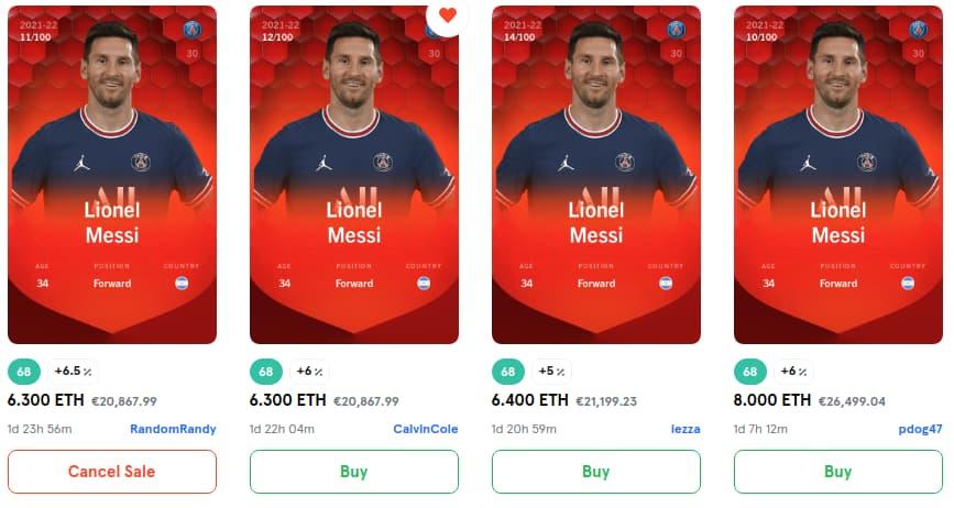 Sorare Karten kaufen und verkaufen